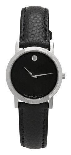 腕時計 モバード レディース 【送料無料】Movado Women's 606087 Museum Black Leather Strap Watch腕時計 モバード レディース