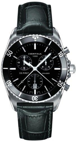 無料ラッピングでプレゼントや贈り物にも 逆輸入並行輸入送料込 腕時計 サーチナ メンズ スイス 送料無料 正規認証品 未使用 新規格 Certina Ds First Leather Stainless Strap Steel Black Watch腕時計 Men's