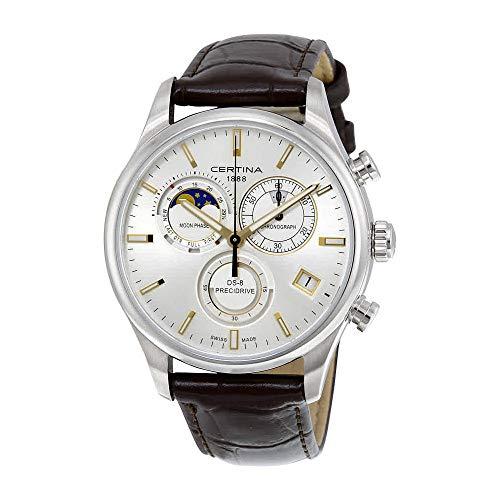 サーチナ 腕時計 メンズ スイス Certina DS- 8 Chronograph Moon Phase Silver Dial Brown Leather Mens Watch C0334501603100 サーチナ 腕時計 メンズ スイス