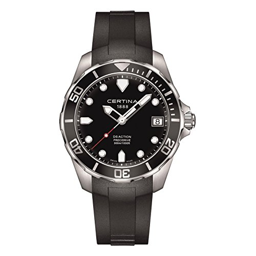 サーチナ 腕時計 メンズ スイス Certina DS Action Black Dial Black Rubber Mens Quartz Watch C0324101705100 サーチナ 腕時計 メンズ スイス