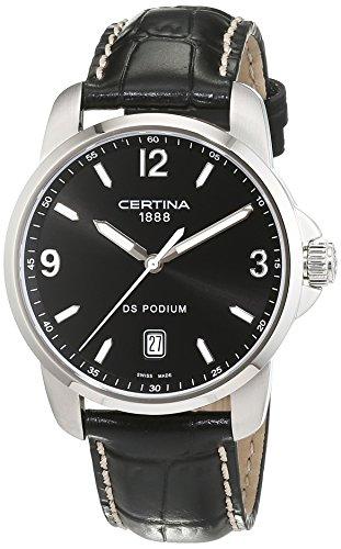 サーチナ 腕時計 メンズ スイス Certina DS Podium Genuine Black Leather Mens Quartz Watch C0014101605701 サーチナ 腕時計 メンズ スイス