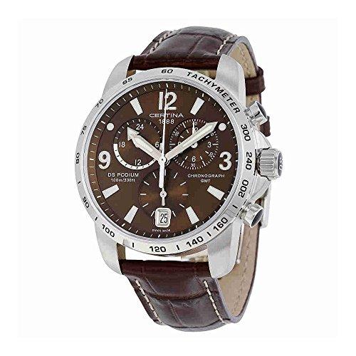 サーチナ 腕時計 メンズ スイス Certina DS Podium GMT Genuine Brown Leather Mens Quartz Watch C0016391629700 サーチナ 腕時計 メンズ スイス