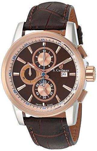 S.Coifman(コイフマン) 腕時計 メンズ S. Coifman 'Men's' Swiss Quartz Stainless Steel and Leather Watch, Color:Brown (Model: SC0254)S.Coifman(コイフマン) 腕時計 メンズ