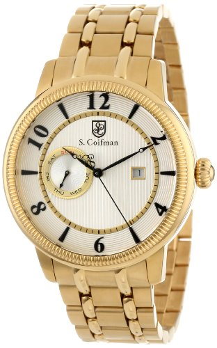 S.Coifman(コイフマン) 腕時計 メンズ S. Coifman Men's SC0198 Silver Textured Dial 18k Gold Ion-Plated Stainless Steel WatchS.Coifman(コイフマン) 腕時計 メンズ