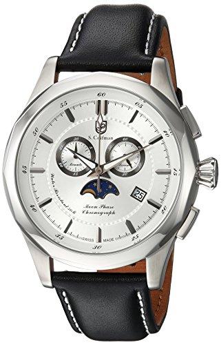 S.Coifman(コイフマン) 腕時計 メンズ S. Coifman Men's Heritage Stainless Steel Quartz Watch with Leather-Calfskin Strap, Black, 22 (Model: SC0241)S.Coifman(コイフマン) 腕時計 メンズ