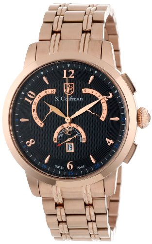 S.Coifman(コイフマン) 腕時計 メンズ S. Coifman Men's SC0240 Chronograph Black Textured Dial 18k Rose Gold Ion-Plated Stainless Steel WatchS.Coifman(コイフマン) 腕時計 メンズ