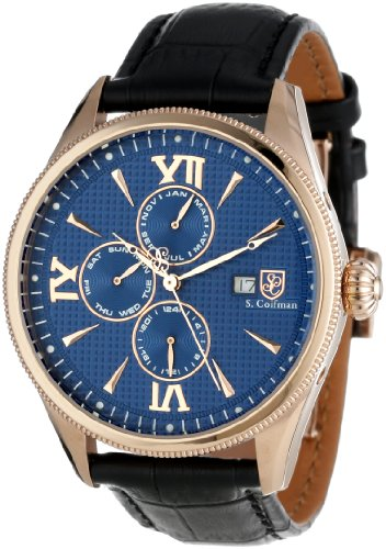 S.Coifman(コイフマン) 腕時計 メンズ S. Coifman Men's SC0173 S. Coifman Blue Textured Dial Black Leather WatchS.Coifman(コイフマン) 腕時計 メンズ