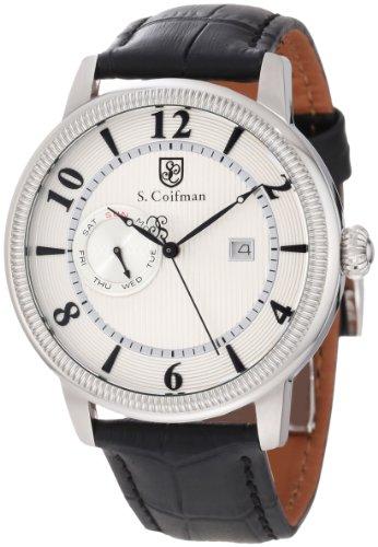 S.Coifman(コイフマン) 腕時計 メンズ S. Coifman Men's SC0191 Silver Textured Dial Black Leather WatchS.Coifman(コイフマン) 腕時計 メンズ