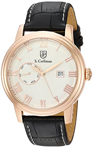 S.Coifman(コイフマン) 腕時計 メンズ S. Coifman Men's Heritage Gold Quartz Watch with Leather Calfskin Strap, Black, 22 (Model: SC0388S.Coifman(コイフマン) 腕時計 メンズ