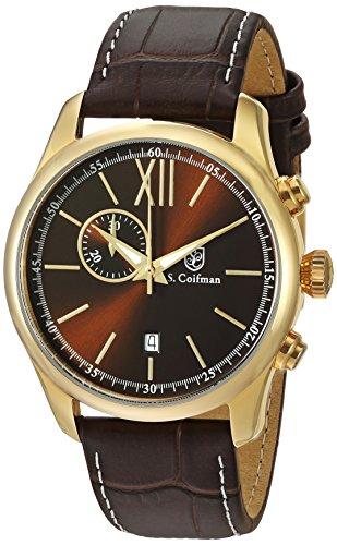 S.Coifman(コイフマン) 腕時計 メンズ S. Coifman Men's Heritage Quartz Watch with Leather Calfskin Strap, Brown, 22 (Model: SC0373)S.Coifman(コイフマン) 腕時計 メンズ