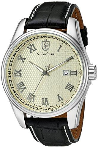 S.Coifman(コイフマン) 腕時計 メンズ S. Coifman 'Men's' Swiss Quartz Stainless Steel and Leather Watch, Color:Black (Model: SC0144)S.Coifman(コイフマン) 腕時計 メンズ