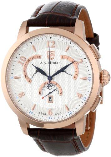 S.Coifman(コイフマン) 腕時計 メンズ S. Coifman Men's SC0233 Chronograph Silver Textured Dial Brown Leather WatchS.Coifman(コイフマン) 腕時計 メンズ