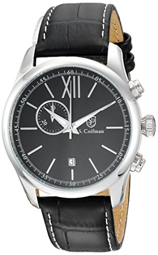 S.Coifman(コイフマン) 腕時計 メンズ 【送料無料】S. Coifman Men's Heritage Stainless Steel Quartz Watch with Leather Calfskin Strap, Black, 22 (Model: SC0370)S.Coifman(コイフマン) 腕時計 メンズ