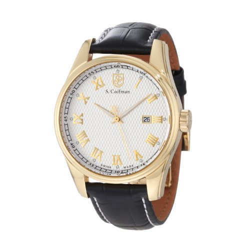 S.Coifman(コイフマン) 腕時計 メンズ 【送料無料】S. Coifman Men's SC0146 Silver Textured Dial Black Leather WatchS.Coifman(コイフマン) 腕時計 メンズ