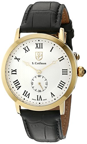 S.Coifman(コイフマン) 腕時計 メンズ S. Coifman 'Men's' Swiss Quartz Stainless Steel and Leather Watch, Color:Black (Model: SC0361)S.Coifman(コイフマン) 腕時計 メンズ
