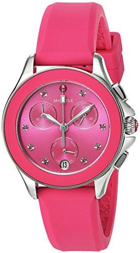 ミッシェル 腕時計 レディース ミシェル MICHELE Women's Cape Topaz Stainless Steel Quartz Watch with Silicone Strap, Pink, 16 (Model: MWW27C000010)ミッシェル 腕時計 レディース ミシェル