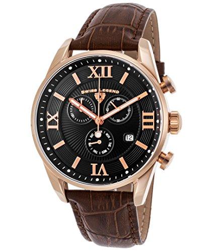 スイスレジェンド 腕時計 メンズ Swiss Legend Men's Bellezza Stainless Steel Swiss-Quartz Watch with Leather Calfskin Strap, Brown, 21 (Model: 22011-RG-01-BRN)スイスレジェンド 腕時計 メンズ