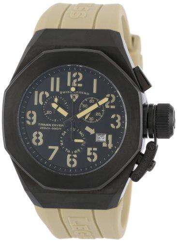 スイスレジェンド 腕時計 メンズ 【送料無料】Swiss Legend Men's 10542-BB-01-CMA Trimix Diver Chronograph Black Dial Light Olive Green Silicone Watchスイスレジェンド 腕時計 メンズ