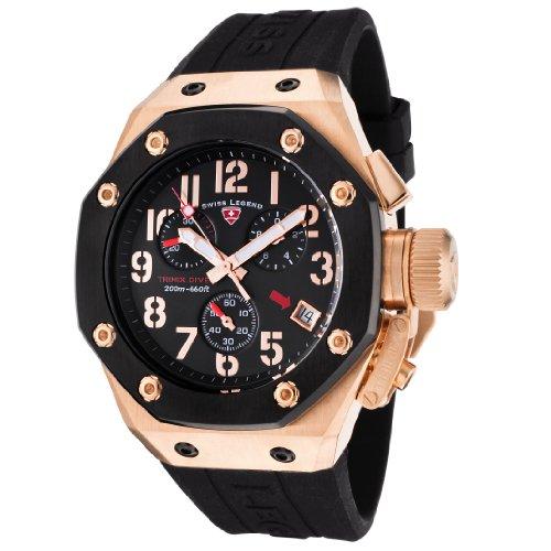スイスレジェンド 腕時計 メンズ Swiss Legend Men's 10541-RG-01-BB Trimix Diver Collection Chronograph Black Rubber Watchスイスレジェンド 腕時計 メンズ