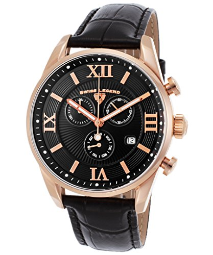 スイスレジェンド 腕時計 メンズ 【送料無料】Swiss Legend Men's Bellezza Stainless Steel Swiss-Quartz Watch with Leather Calfskin Strap, Black, 21 (Model: 22011-RG-01-BLK)スイスレジェンド 腕時計 メンズ