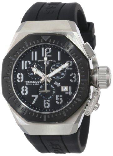 スイスレジェンド 腕時計 メンズ Swiss Legend Men's 10540-01-BB Trimix Diver Chronograph Black Dial Black Silicone Watchスイスレジェンド 腕時計 メンズ