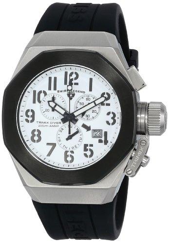 スイスレジェンド 腕時計 メンズ 【送料無料】Swiss Legend Men's 10542-02-BB Trimix Diver Chronograph White Dial Black Silicone Watchスイスレジェンド 腕時計 メンズ