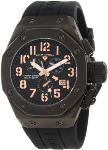 スイスレジェンド 腕時計 メンズ 【送料無料】Swiss Legend Men's 10541-BB-01-RA Trimix Diver Chronograph Black Dial Watchスイスレジェンド 腕時計 メンズ