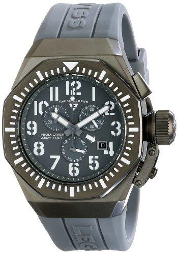 スイスレジェンド 腕時計 メンズ Swiss Legend Men's 10540-GM-014-WA Trimix Diver Chronograph Grey Dial Grey Silicone Watchスイスレジェンド 腕時計 メンズ