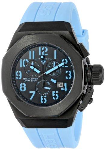 腕時計 スイスレジェンド メンズ 【送料無料】Swiss Legend Men's 10542-BB-01-BBLA Trimix Diver Chronograph Black Dial Light Blue Silicone Watch腕時計 スイスレジェンド メンズ