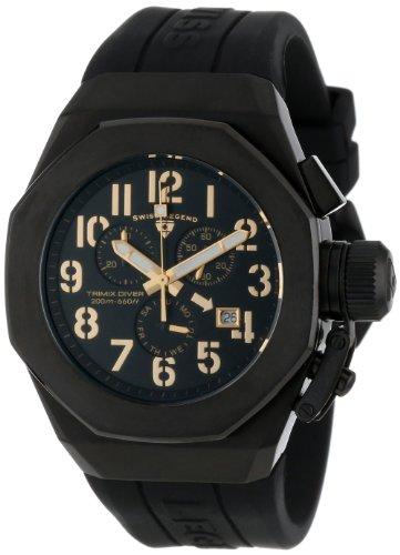 スイスレジェンド 腕時計 メンズ Swiss Legend Men's 10542-BB-01-GA Trimix Diver Chronograph Black Dial Black Silicone Watchスイスレジェンド 腕時計 メンズ