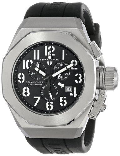 腕時計 スイスレジェンド メンズ 【送料無料】Swiss Legend Men's 10542-01-WA Trimix Diver Chronograph Black Dial Black Silicone Watch腕時計 スイスレジェンド メンズ