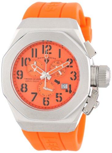スイスレジェンド 腕時計 メンズ 【送料無料】Swiss Legend Men's 10542-06-ORG Trimix Diver Chronograph Orange Dial Orange Silicone Watchスイスレジェンド 腕時計 メンズ
