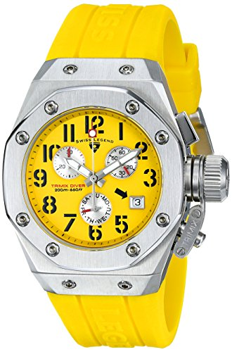 スイスレジェンド 腕時計 レディース 【送料無料】Swiss Legend Women's 10535-07 Trimix Diver Chronograph Yellow Dial Yellow Silicone Watchスイスレジェンド 腕時計 レディース