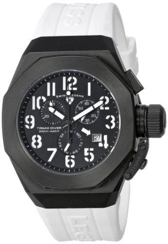 スイスレジェンド 腕時計 メンズ 【送料無料】Swiss Legend Men's 10542-BB-01-WA Trimix Diver Chronograph Black Dial White Silicone Watchスイスレジェンド 腕時計 メンズ