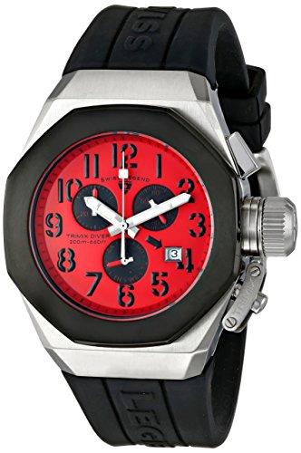 腕時計 スイスレジェンド メンズ 【送料無料】Swiss Legend Men's 10542-05-BB Trimix Diver Chronograph Red Dial Black Silicone Watch腕時計 スイスレジェンド メンズ