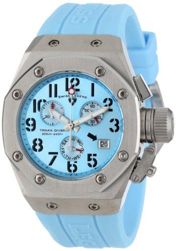 スイスレジェンド 腕時計 レディース Swiss Legend Women's 10535-012 Trimix Diver Chronograph Light Blue Dial Light Blue Silicone Watchスイスレジェンド 腕時計 レディース