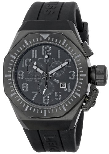 スイスレジェンド 腕時計 メンズ Swiss Legend Men's 10540-BB-01-GRYA Trimix Diver Chronograph Black Dial Black Silicone Watchスイスレジェンド 腕時計 メンズ