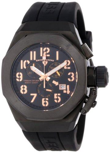 スイスレジェンド 腕時計 メンズ Swiss Legend Men's 10542-BB-01-RA Trimix Diver Chronograph Black Dial Black Silicone Watchスイスレジェンド 腕時計 メンズ