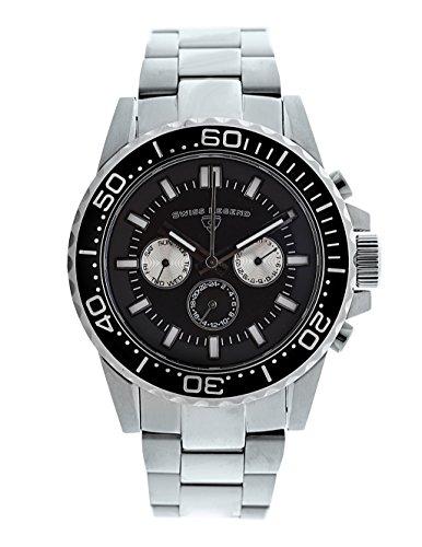 スイスレジェンド 腕時計 メンズ Swiss Legend Conquest Men's Analog Silver Stainless Steel Quartz Watch with Black Dial and Day & Date Display 10706-01-BBスイスレジェンド 腕時計 メンズ