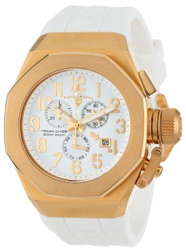 スイスレジェンド 腕時計 メンズ Swiss Legend Men's 10542-YG-02-GA Trimix Diver Chronograph White Dial White Silicone Watchスイスレジェンド 腕時計 メンズ