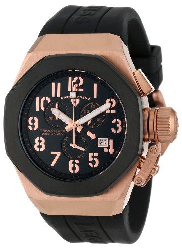 スイスレジェンド 腕時計 メンズ 【送料無料】Swiss Legend Men's 10542-RG-01-BB Trimix Diver Chronograph Black Dial Black Silicone Watchスイスレジェンド 腕時計 メンズ