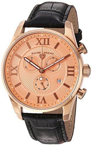 スイスレジェンド 腕時計 メンズ Swiss Legend Men's 'Bellezza' Swiss Quartz Stainless Steel and Leather Casual Watch, Color:Black (Model: 22011-RG-09-RA-BLK)スイスレジェンド 腕時計 メンズ