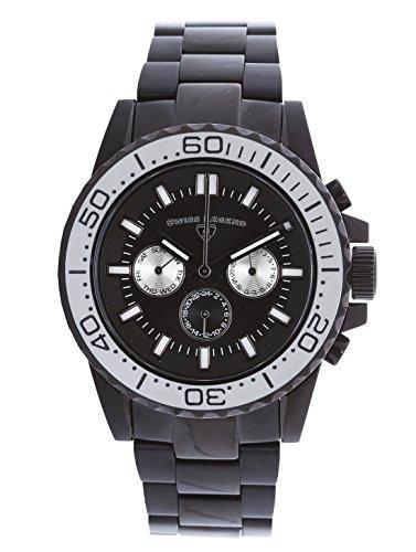 スイスレジェンド 腕時計 メンズ 【送料無料】Swiss Legend Conquest Men's Analog Black Stainless Steel Quartz Watch with Silver Bezel and Day & Date Display 10706-BB-11-SAスイスレジェンド 腕時計 メンズ