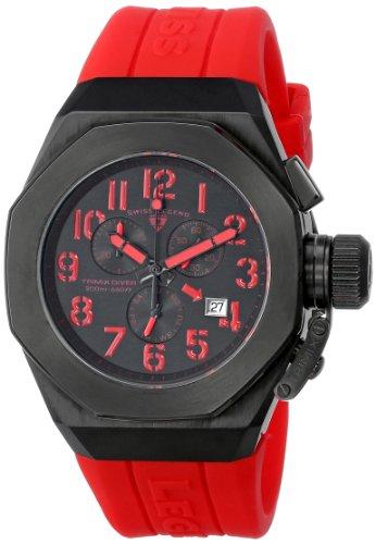 スイスレジェンド 腕時計 メンズ Swiss Legend Men's 10542-BB-01-RDA Trimix Diver Chronograph Black Dial Red Silicone Watchスイスレジェンド 腕時計 メンズ