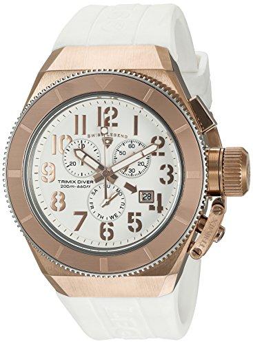 スイスレジェンド 腕時計 メンズ Swiss Legend Men's Trimix Diver Stainless Steel Swiss-Quartz Watch with Silicone Strap, White, 28 (Model: 13844-RG-02-RA)スイスレジェンド 腕時計 メンズ