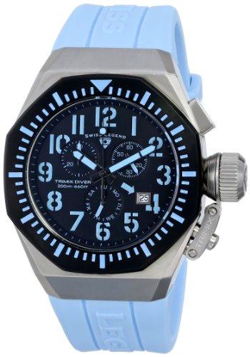 スイスレジェンド 腕時計 メンズ Swiss Legend Men's 10540-01-BB-BBLA Trimix Diver Chronograph Black Dial Light Blue Silicone Watchスイスレジェンド 腕時計 メンズ