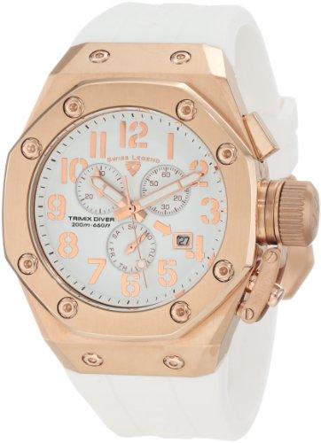 スイスレジェンド 腕時計 メンズ Swiss Legend Men's 10541-RG-02-WA Trimix Diver Chronograph White Dial Watchスイスレジェンド 腕時計 メンズ