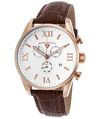 スイスレジェンド 腕時計 メンズ 【送料無料】Swiss Legend Men's Bellezza Stainless Steel Swiss-Quartz Watch with Leather Calfskin Strap, Brown, 21 (Model: 22011-RG-02-BRN)スイスレジェンド 腕時計 メンズ