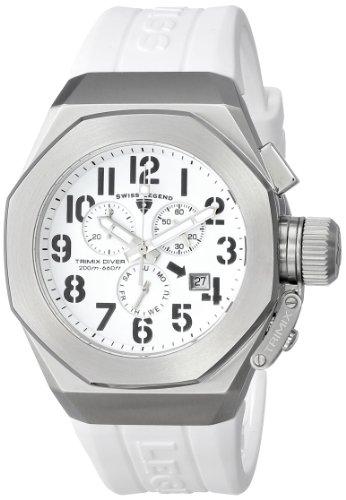 腕時計 スイスレジェンド メンズ 【送料無料】Swiss Legend Men's 10542-02-WA Trimix Diver Chronograph White Dial White Silicone Watch腕時計 スイスレジェンド メンズ