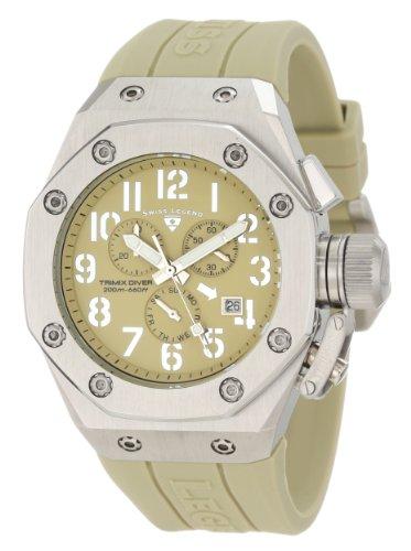 腕時計 スイスレジェンド メンズ 【送料無料】Swiss Legend Men's 10541-019 Trimix Diver Chronograph Olive Green Dial Watch腕時計 スイスレジェンド メンズ